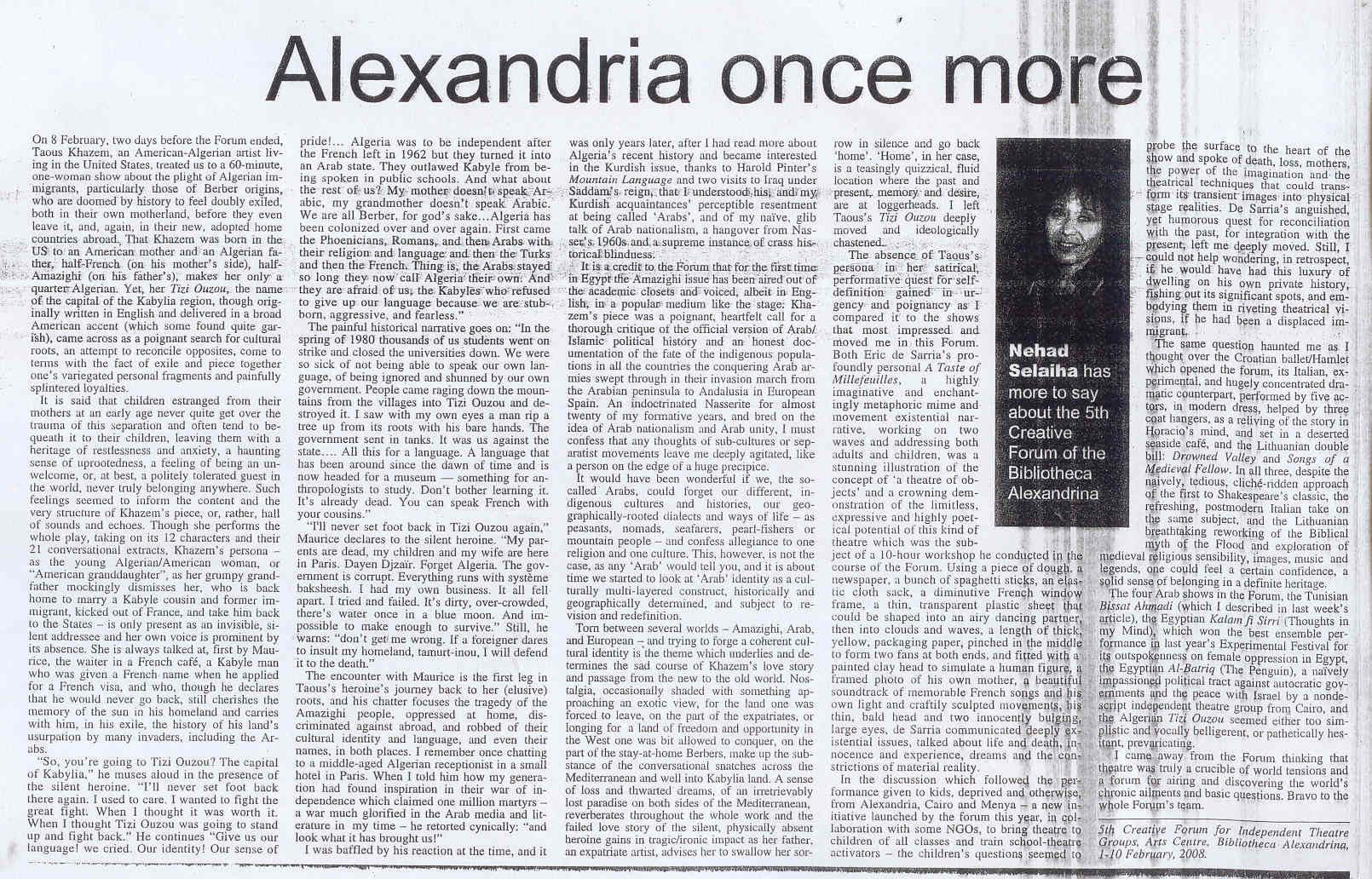 ALEXANDRIA ONCE MORE
