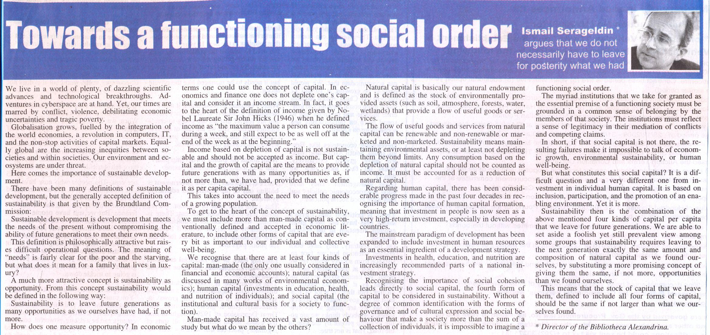 towards a functioning social order