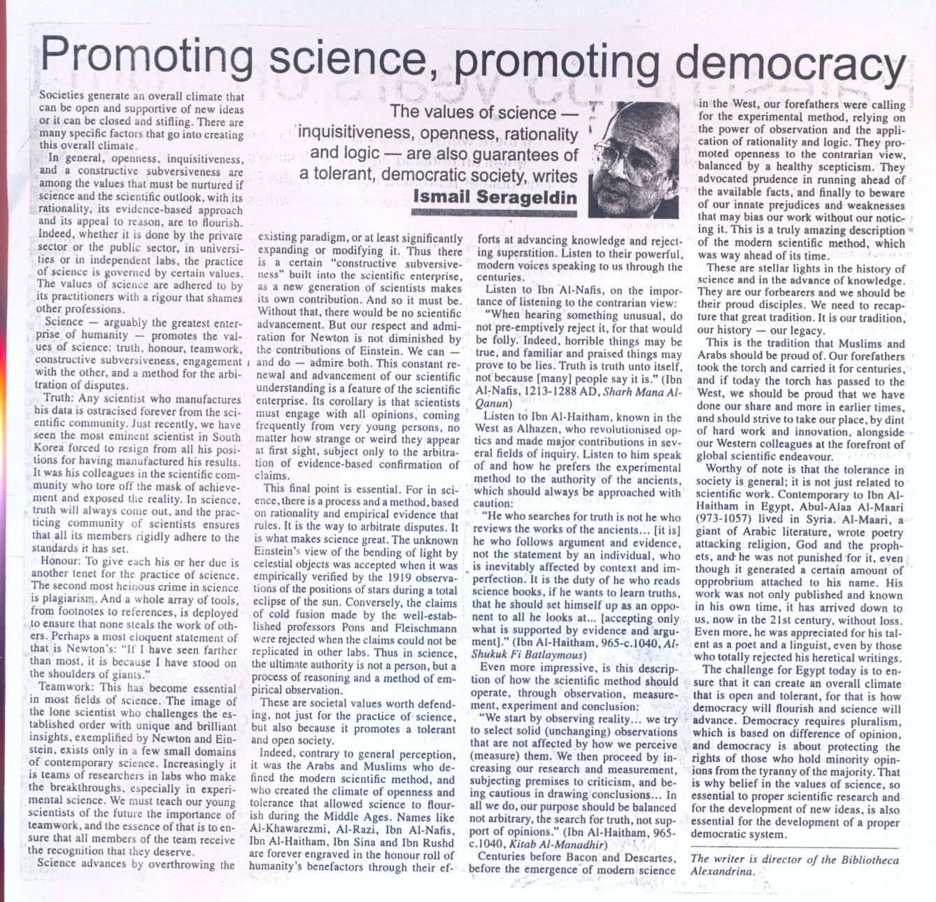 promoting science,promoting democracy