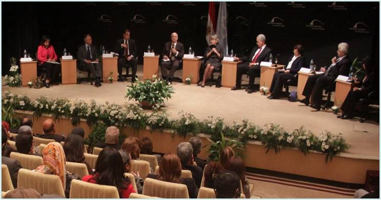 Mrs. Irina Bokova and the other eminent figures during her visit to the Bibliotheca Alexandrina