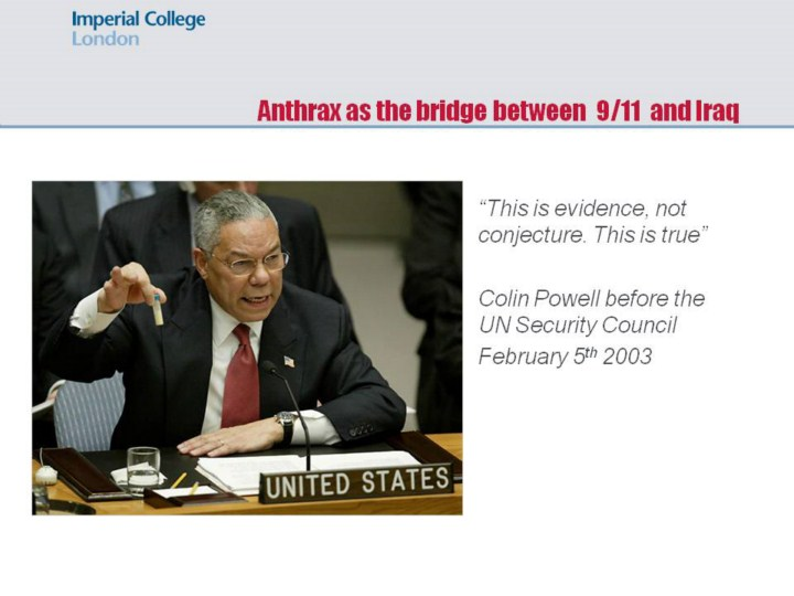 Image result for powell anthrax 9/11